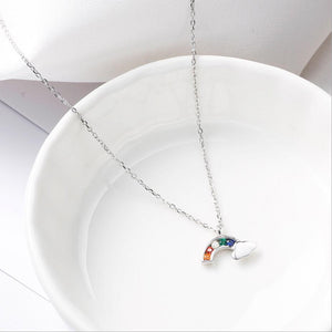 Matching Sterling Silver Rainbow Earrings and Necklace