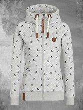 Load image into Gallery viewer, Zip Hoodie Long Sleeve Pockets Hooded Cardigan Sweatshirts Floral Print Sweatshirts For Women
