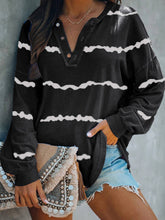 Load image into Gallery viewer, Striped Print V-neck Buttoned Long Sleeve T-Shirts