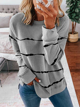Load image into Gallery viewer, Women Stripes Dip-Dyed Print Crew Neck Long Sleeve Sweatshirts