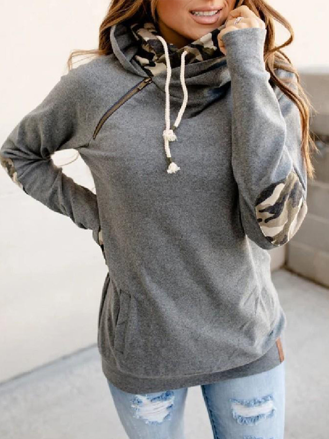 Women Solid Paneled Long sleeve Hoodie Street Sweatshirt