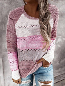 Stripes Print Womens Knit Sweater Long Sleeve Cutout Crew Neck Sweaters