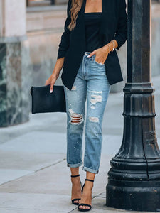 Washed Straight Leg Jeans Ripped Jeans For Women