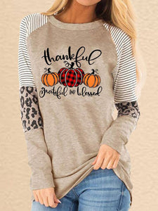 Women Paneled Printed Polyester Crew neck Casual Long sleeve T-shirt