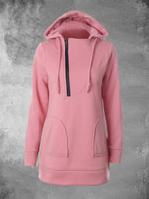 Load image into Gallery viewer, Women's Zipper Hooded Drawstring Long Sleeve Solid Sweatshirts