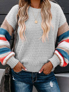 Turtle Neck  Stripes Knitted Women Sweaters