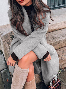 Women Fashion Shawl Collar Solid Long Sleeve Woolen Coats