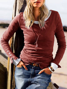 Women Solid Long Sleeve Polyester T Shirts Crew Neck Slim Fit T Shirts with Button