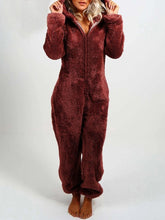 Load image into Gallery viewer, Women High-Waisted Plush Thick Hooded Pajamas Jumpsuits