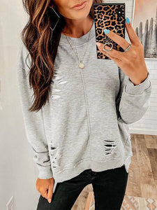 Women Crew Neck Polyester Ripped Long Sleeve Sweatshirts