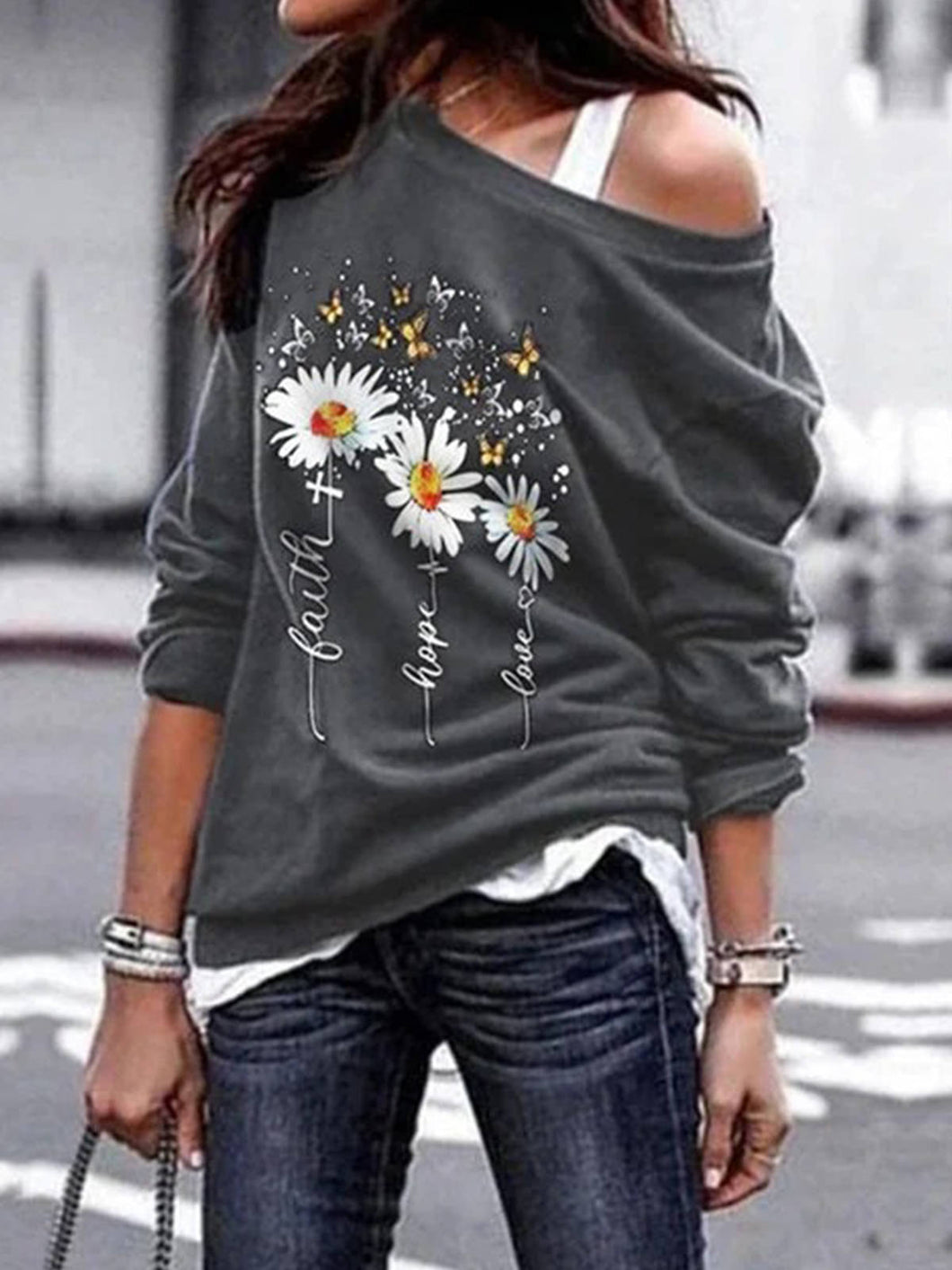 Women Daisy Print Long Sleeve Polyester Off Shoulder T-Shirts