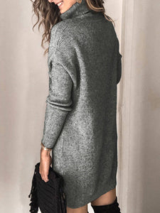 Women Solid Shawl Collar Long Sleeve Knitted  Sweater Dresses