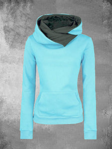 Solid Sweatshirts Shawl Collar Pullover Sweatshirts Long Sleeve Sweatshirts For Women