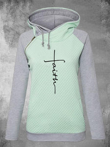 Zipper Long Sleeve Hooded Fleece Ladies Embroidered Sweatshirts