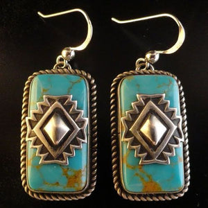 Women Vintage Silver Turquoise Earrings