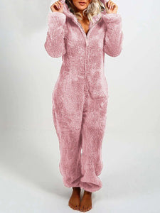 Women High-Waisted Plush Thick Hooded Pajamas Jumpsuits