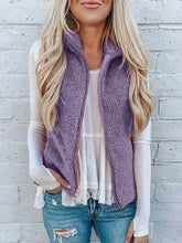 Load image into Gallery viewer, Stand Collar Open Front Cardigan Solid Plush  Zipper Womens Sleeveless Vests