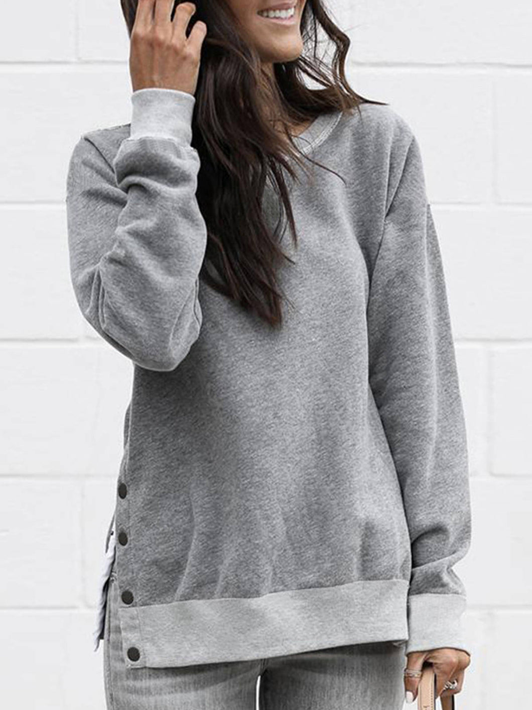 Women Solid Crew Neck Slit Button Long Sleeve Sweatshirts