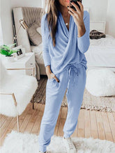 Load image into Gallery viewer, Women Solid Cross V Neck Long Sleeve T-Shirt and Lace-up Pockets Pant Casual Sets