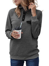 Load image into Gallery viewer, Turtle Neck Button Long Sleeve Sweatshirts