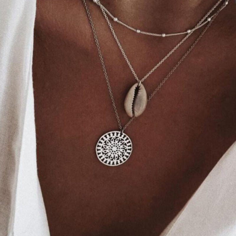 Women Bohemian Shell Multi-layer Necklace