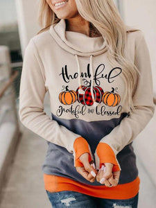 Women Printed Paneled Cotton Hoodie Casual Sweatshirt