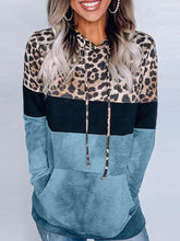Load image into Gallery viewer, Leopard Print Hooded Sweatshirts Long Sleeve Pocket Sweatshirts For Women