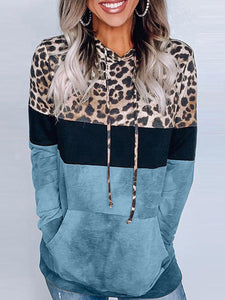 Leopard Print Hooded Sweatshirts Long Sleeve Pocket Sweatshirts For Women
