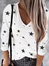 Load image into Gallery viewer, Women Star Print V Neck Cotton Long Sleeve T-Shirts