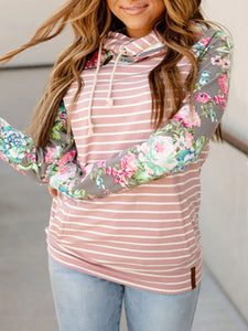 Women Striped Polyester Color Block Hooded Sweatshirts