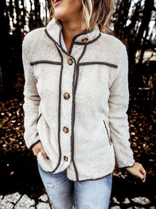 Women Casual Terry Fleece Fashion Stand Collar Stitching Button Jacket