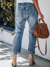 Load image into Gallery viewer, Women Ripped Drawstring Pocket Straight Denim Pants