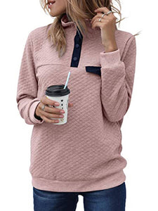 Turtle Neck Button Long Sleeve Sweatshirts