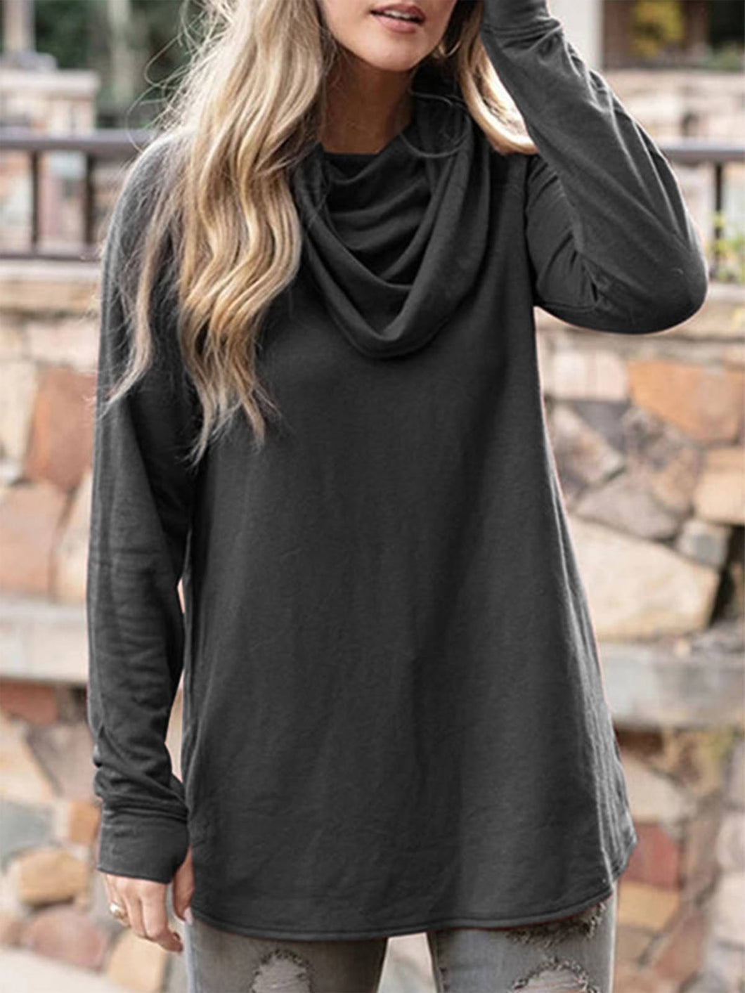 Women Cowl Neck Solid Long Sleeves T-Shirts