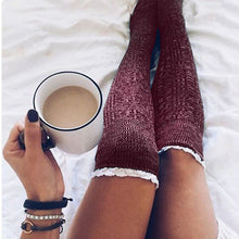 Load image into Gallery viewer, Women Lace Over Knee Cowl Socks