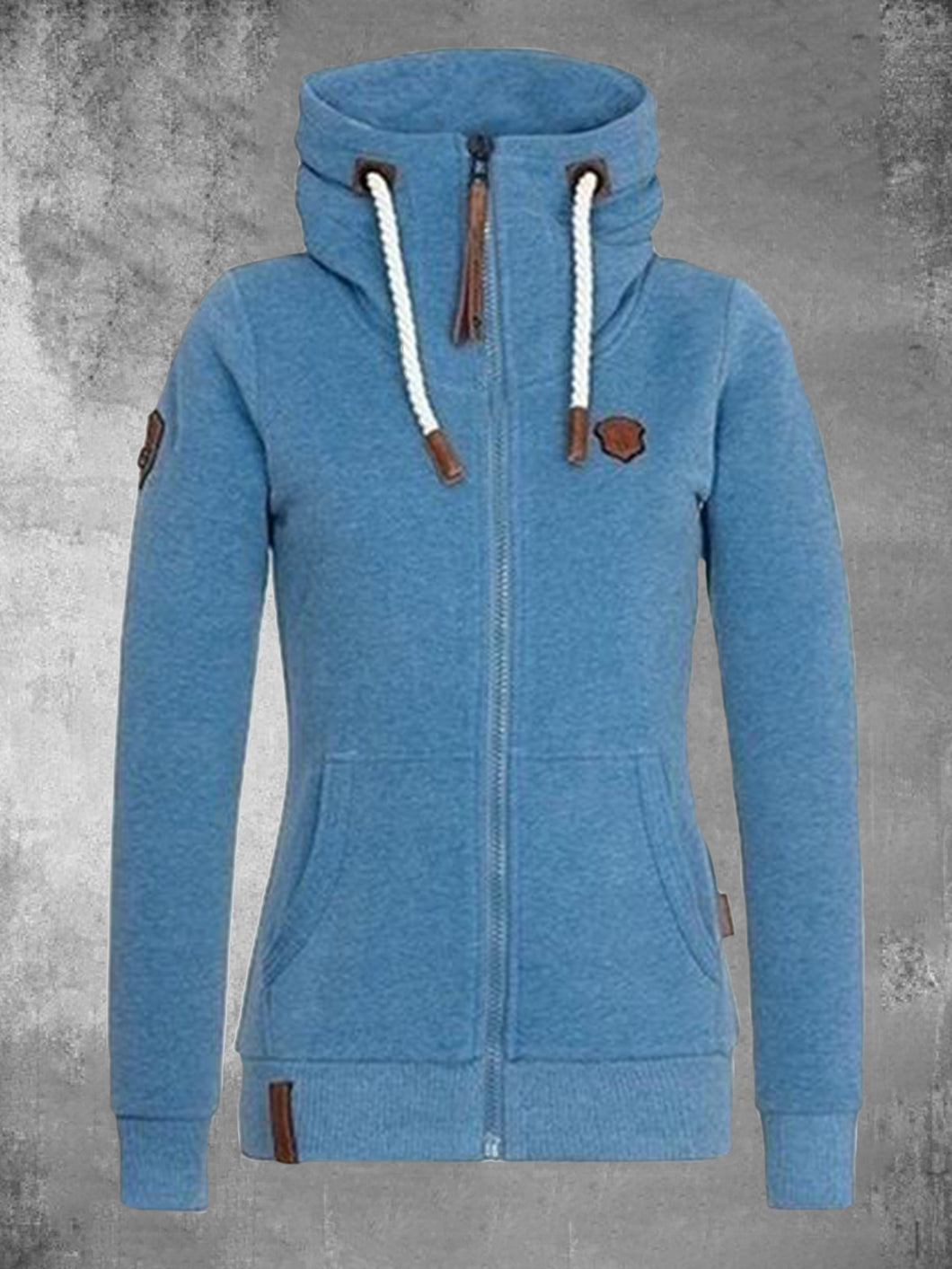 Solid Zip Up Hoodie Long Sleeve Hooded Cardigan Cotton Open Front Cardigan Coats For Women