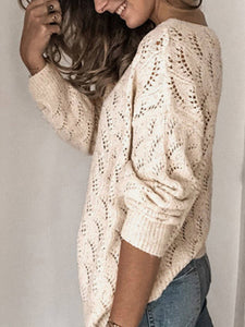 Women Solid V Neck Knitted Cutout Long Sleeve Sweaters