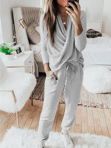 Women Solid Cross V Neck Long Sleeve T-Shirt and Lace-up Pockets Pant Casual Sets