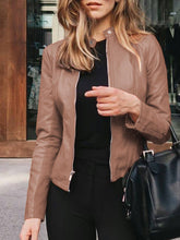 Load image into Gallery viewer, Women Fashion Solid Zipper Long Sleeve PU Suit Jackets
