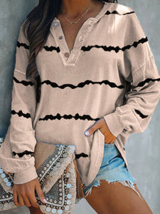 Striped Print V-neck Buttoned Long Sleeve T-Shirts