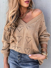 Load image into Gallery viewer, Women V-neck Heart-Shaped Cutout Loose Knit Sweaters