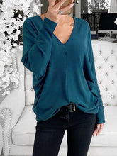 Load image into Gallery viewer, Women Polyester V Neck Solid Long Sleeve Casual T-Shirts