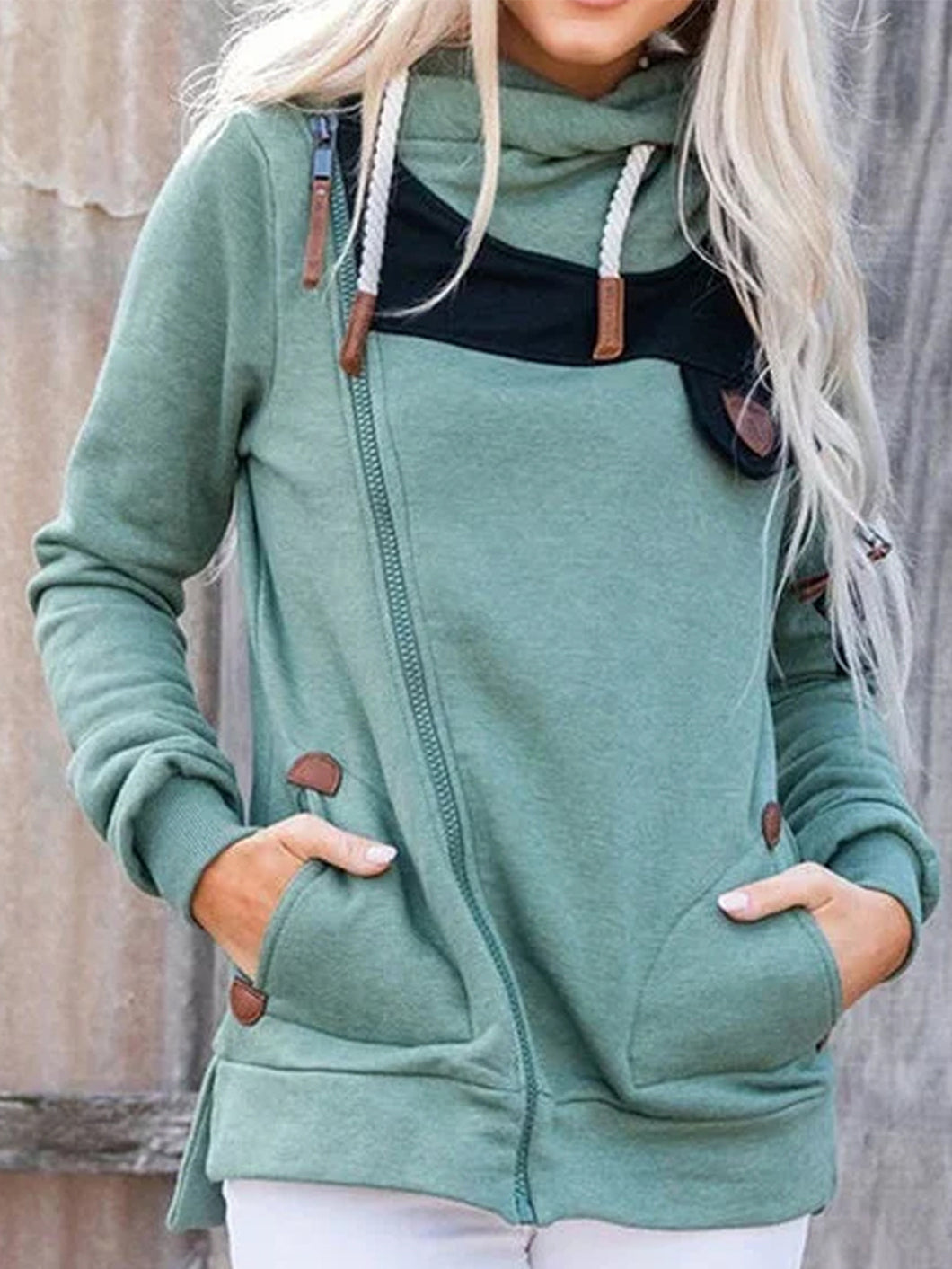 Long Sleeve Pullover Hoodies Irregular Zipper Sweatshirts For Women Cowl Neck Sweatshirts