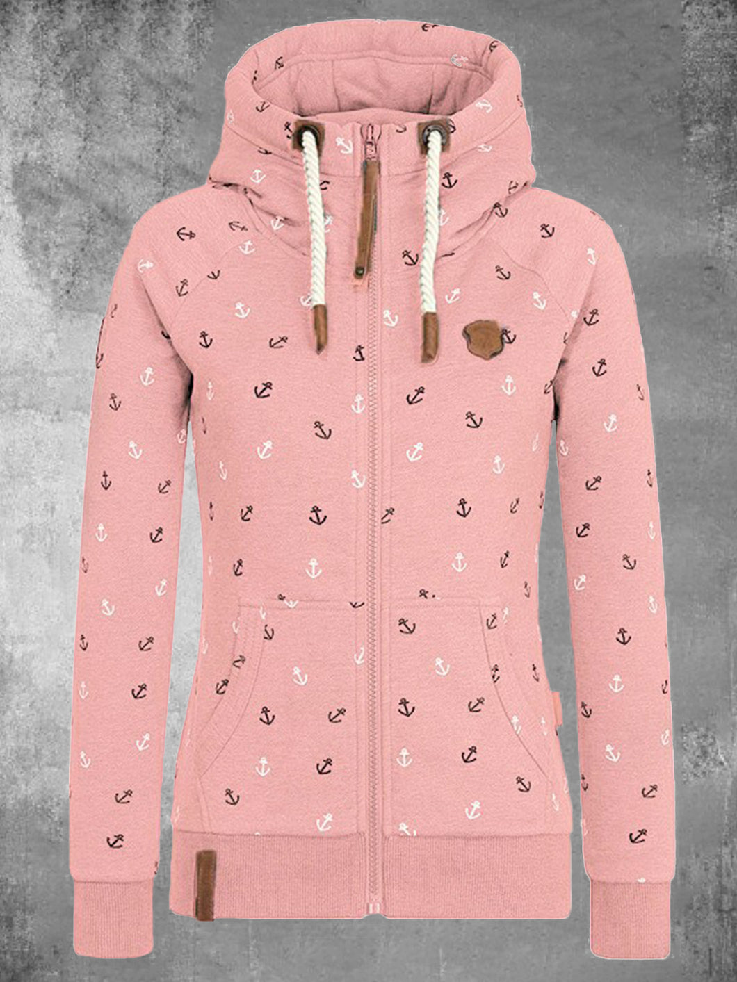 Zip Hoodie Long Sleeve Pockets Hooded Cardigan Sweatshirts Floral Print Sweatshirts For Women