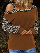Load image into Gallery viewer, Women Leopard Print Slash Neck Long Sleeve Knitted T-Shirts