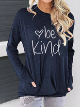 Load image into Gallery viewer, Women Long Sleeve BE KIND Letter Print Cotton Crew Neck Bat Sleeves T-Shirts
