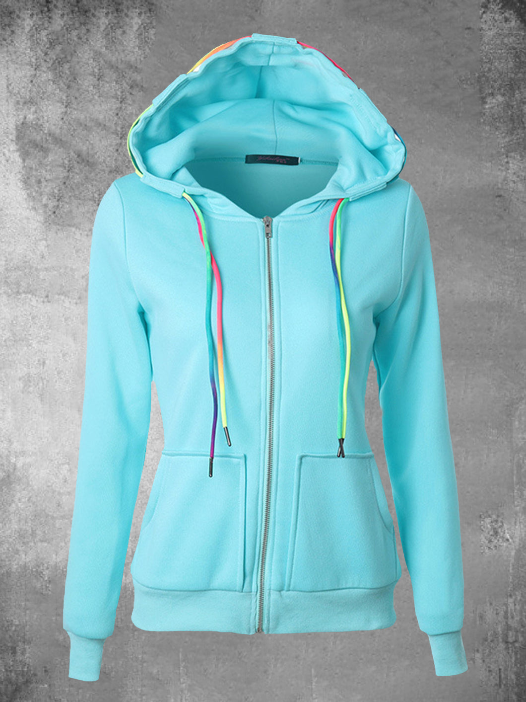 Women Drawstring Hooded Zipper Cardigan Sweatshirts with Pocket