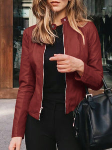Women Fashion Solid Zipper Long Sleeve PU Suit Jackets