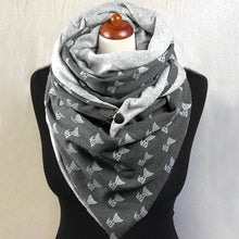 Load image into Gallery viewer, Cartoon Print Snood Scarf Cotton Triangle Scarf  Fashion Winter Scarfs