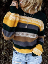 Load image into Gallery viewer, Stripes Crew Neck Sweaters Long Sleeve Womens Knit Sweaters